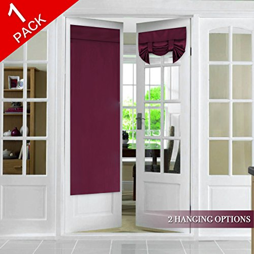 (Blackout French Door Panel Tricia Window Door Curtains Full Privacy, Rod Pocket Functional Thermal Insulated Curtain Patio Door Panel, Single Panel, 26 x 68 Inches, Burgundy)
