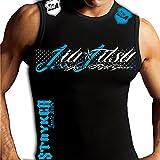 Jiu Jitsu Fight Gear Fence Sleeveless Muscle MMA Tank Top MMA UFC (Large, Black / Blue White Logo)