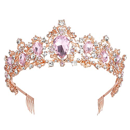 Sweet Princess Pink Crowns for Women Girls Crystal Rhinestone Queen Costume Party Festival Wedding Tiaras Headbands (Rose Gold Pink)