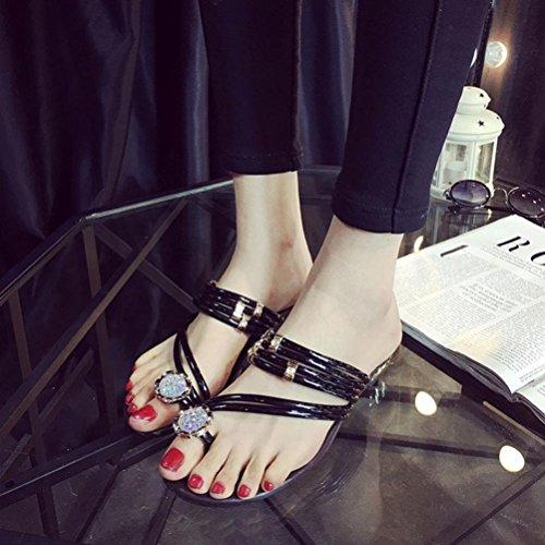 Clode® 1 Pair Women Summer Sandals Rhinestone Flat Heel Thong Shoes Flat Ankle Straps Sandals Flip Flops Sandals Black u76LZb