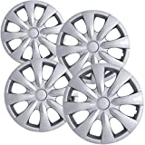 15 inch Hubcaps Best for 2008-2013 Toyota Corolla - (Set of 4) Wheel Covers 15in Hub Caps SIlver Rim Cover - Car Accessories for 15 inch Wheels - Snap On Hubcap, Auto Tire Replacement Exterior Cap)