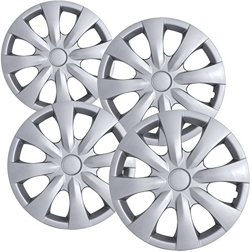 15 inch Hubcaps Best for 2008-2013 Toyota Corolla - (Set of 4) Wheel Covers 15in Hub Caps SIlver Rim Cover - Car Accessories for 15 inch Wheels - Snap On ()
