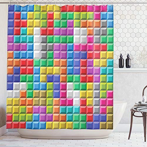(Ambesonne Video Games Shower Curtain, Colorful Retro Gaming Computer Brick Blocks Image Puzzle Digital 90's Play, Fabric Bathroom Decor Set with Hooks, 75 Inches Long, Multicolor)