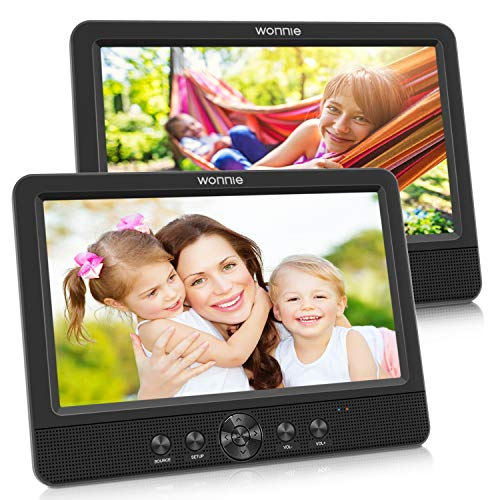 """WONNIE 10.5"""" Dual Screen DVD Player Portable CD Players for Car with 5-Hour Rechargeable Battery, USB/SD/MMC Support, Play a Same or Two Different Movies (2 X DVD Player)"""