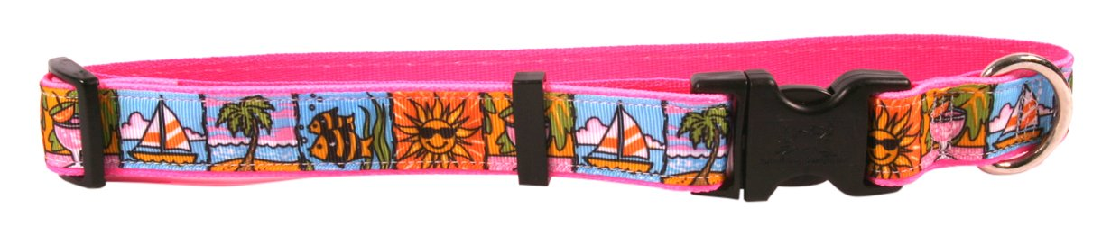 Small Yellow Dog Design Beach Party On Pink Grosgrain Ribbon Collar 3 4  Wide And Fits Neck 10 To 14 , Small