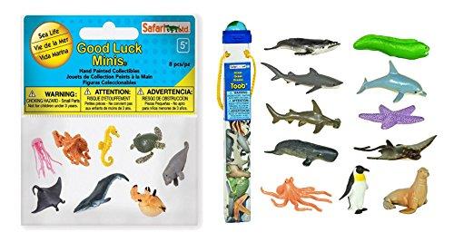 Set of 8 Safari Ltd Sea Life Minis Fun Pack bundled with Set of 12 Safari Ltd Ocean TOOB - Life Miniatures Toob