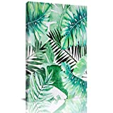 Home Decor Canvas Wall Art Painting, Palm Leaf Tropical Plant Leaves Watercolor Prints, Morden Artwork Framed for Living Room Wall Decorations Ready to Hang 12'x18'
