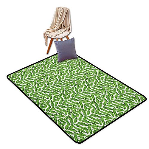 (Bedroom Floor Rug Banana Leaf Vibrant Foliage from Madagascar Island Lively Green Nature Themed Art Outside The Door Rug W6'xL9' )