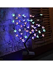 Excelvan Cherry Blossom Tree 0.45m/1.5ft 48LED Black Branches with Lights Twig Tree Lamp for Home/Party/Wedding/Indoor & Outdoor Christmas Decoration (Cool White)