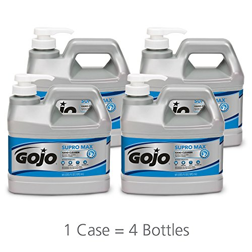 GOJO SUPRO MAX Hand Cleaner, 1/2 Gallon Heavy Duty Hand Cleaner Pump Bottles (Pack of 4) - 0972-04