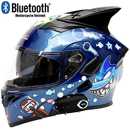- WWtoukui Shark New Motorcycle Bluetooth Helmet, Creative Cartoon Double Lens Multi-Function Voice FM Full Face Helmet, DOT Certified Helmet,M57~58cm