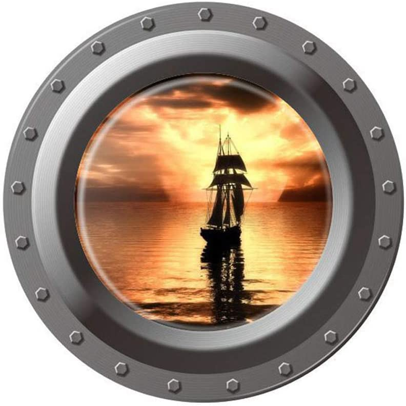 Home Find (17 inches x 17 inches) 3D High Definition Faux Submarine Porthole View Ship on The Sea in The Morning Wall Stickers Removable Vinyl Murals Decals Kids Room Bedroom Nursery Wall Decoration