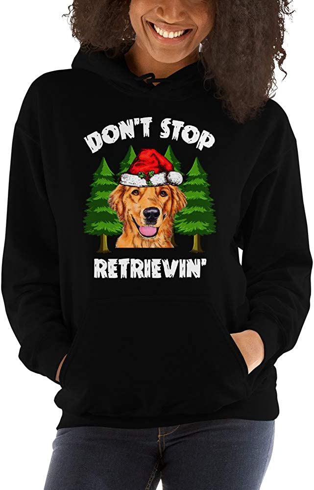 Dont Stop Retrievin Funny Santa Golden Retriever Christmas Unisex Hoodie