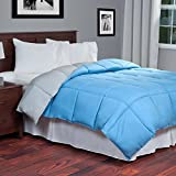 Single Piece Twin Grey/Light Blue Reversible Comforter, Down Alternative Fill, Soft Hypoallergenic, for Modern Master Bedroom, Square Box, Microfiber Fill, Machine Washable, Taupe/Sky Blue, Polyester