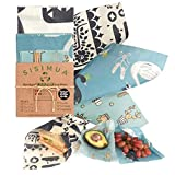 Vegan Reusable Food Wrap NO Beeswax - 100% Plant Based. Assorted Pack Of 3 Wax Wraps For Food Reusable Set, That Are A Great Reusable Plastic Wrap Alternative. Eco Friendly & Organic Food Wrap