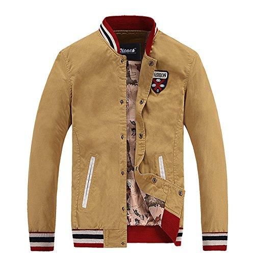Zicac Men's Top Designed Jacket Casual Slim Cotton Baseball Uniform Jacket (L, Khkai)