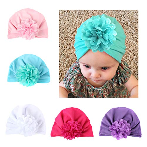 DANMY Baby Girl Hat with Rabbit Ears Toddlers Soft Turban Knot Bow Cap (Flower Petal hat (5pcs))