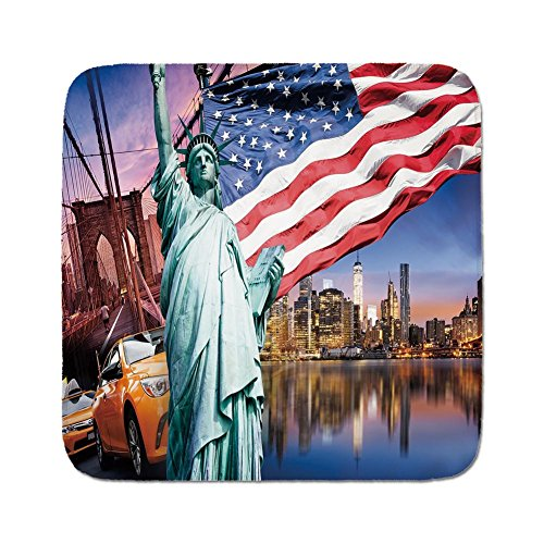 Cozy Seat Protector Pads Cushion Area Rug,United States,USA Touristic Concept Collection Statue of Liberty NYC Cityscape Flag Cars Decorative,Multicolor,Easy to Use on Any ()