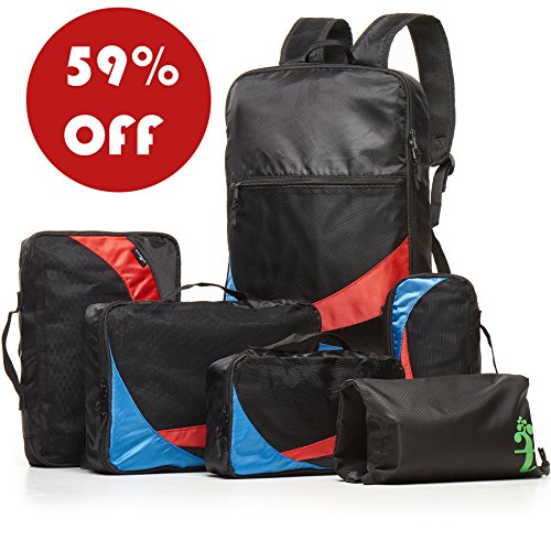 Artree Luggage Organizer Set - 2 in 1 Travel Backpack - 6 Piece (Red-Blue-Black)