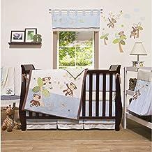 4 Piece Baby Brown Tan Blue Go Bananas Crib Bedding Set, Newborn Animal Themed Nursery Bed Set Infant Child Safari Jungle Monkey Trees Striped Pattern Bold Border Blanket Quilt, Cotton