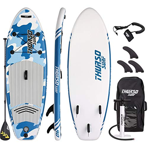 THURSO SURF Prodigy Junior Kids Inflatable SUP Stand Up Paddle Board 7'6 x 30'' x 4'' Two Layer Includes Adjustable Carbon Shaft Paddle/3 Fins/Leash/Pump/Backpack (Blue)