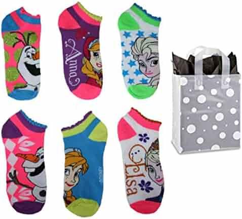 6e8aa2a34ead7 Disney Frozen Little Girls' 6 Pair Ruffled No Show Socks & Bag Gift Set