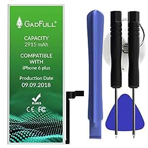 Batería premium Gadfull® para Apple iPhone 6 Plus con juego de herramientas, con instrucciones y kit profesional de herramientas, sin ciclos de carga, funciona con todos los APN originales
