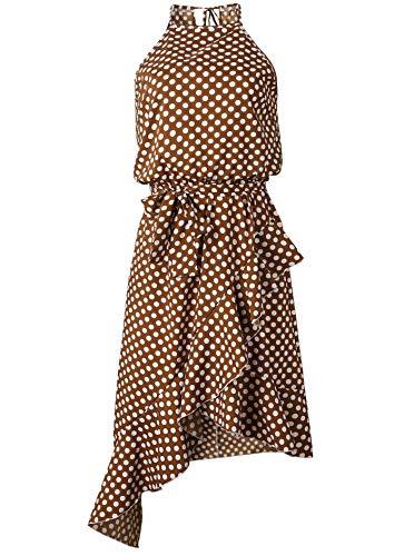 YSJERA Women's Polka Dot Boho High Low Flounce Hem Sexy Casual Evening Party Halter Dresses (2XL,Brown)