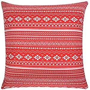 VidaHome Pillow Covers 4 Pieces Canvas Atzec Printed Red 50 x 50 cm