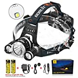 headlight aimer - Boruit LED Headlamp 3xOriginal Cree XML T6 5000 Lumens Waterproof Headlight with Rechargeable 18650 Batteries Bright Adjustable Hands-Free Flashlight for Camping Running Hunting Reading Headband Light