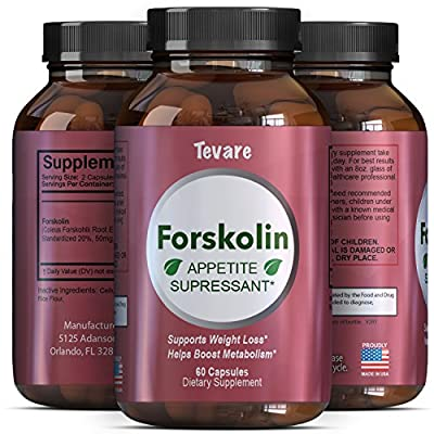 Forskolin Extract - Natural Weight Loss Diet Pills - Fat Burner + Appetite Suppressant That Works - 250 mg Capsules - Get Thin + Lose Fast with the Best Pure Coleus Forskohlii Root - Tevare
