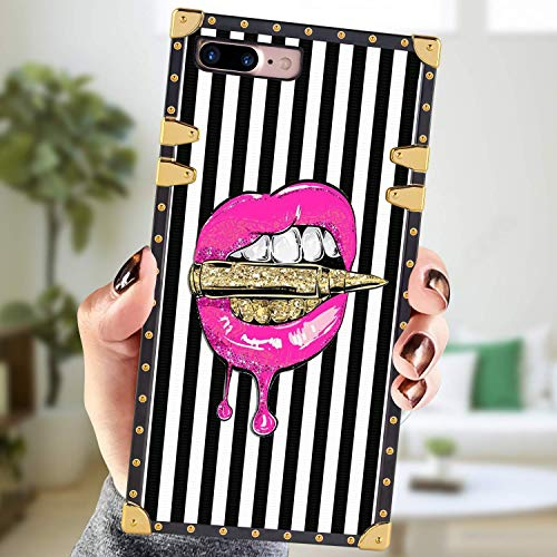 Square Case Compatible iPhone 7 Plus iPhone 8 Plus Case Pink Lips in Bullet Luxury Elegant Soft Shock Protection Case Cover Compatible iPhone 7 Plus/8 Plus 5.5 Inch