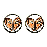 GiftJewelryShop Bronze Retro Style Smiling Sexy Heart Photo Clip On Earrings 14mm Diameter