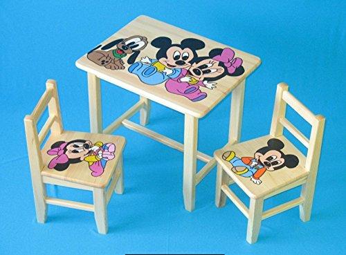 Set in legno tavolino con 2 sedie per cameretta bambini. M4. Ottima idea regalo.Completo in pino con disegno a mano. ipp
