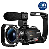 ORDRO AC5 4K Camcorder Optical Ultra HD WiFi Video Camera(12X Optical Zoom, 3.1 Inch IPS Touch Screen, Microphone, Wide...
