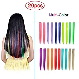 Hawkko 12PCS Straight Colored Clip in Hair Extensions Party Highlight Multiple Colors Hairpieces (12pcs- Blue)