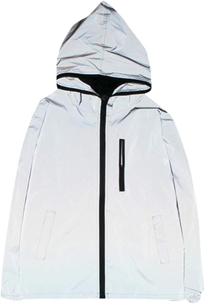 Asibeiul Reflective Jacket Hoodie Zip Sweatshirt Men Women Hi-Vis Hooded Coat Hiking Windbreaker Harajuku Winter Windproof