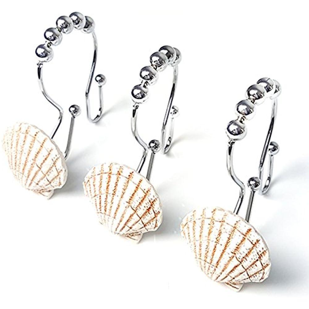 Love Creative Double RUSTPROOF Shower Curtain Hooks Rings Resin Starfish Shell STAINLESS STEEL Shower Curtain Hooks Rings Easy Glide 12 Count