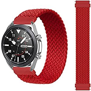 Braided Solo Loop Band Size Medium For Samsung Galaxy Watch 46mm / Huawei GT2 / Gear S3 Frontier and Classic / Honor Magic 2 / Fossil - 22mm - Red
