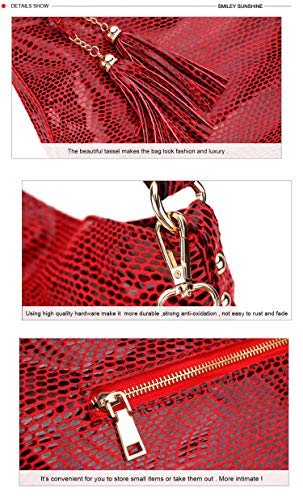 Snake hand female hobos pattern women bags 2018 women tassel shoulder leather handbag bag bag serpentine red big X8qwZXnr