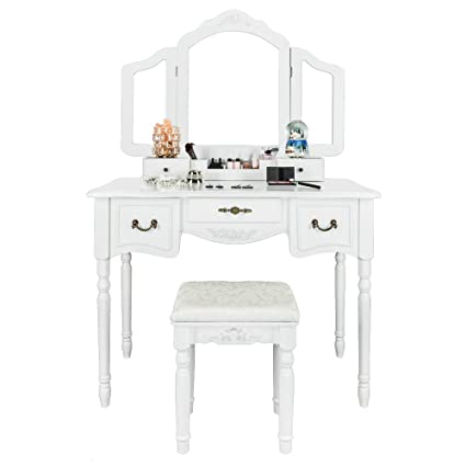 FCH Modern Vanity Table Set for Girls/Woman/Adults Large Makeup Vanity  Table with Tri-Folding Mirror&Cushioned Stool&5 Drawers Bedroom Dressing  Makeup ...