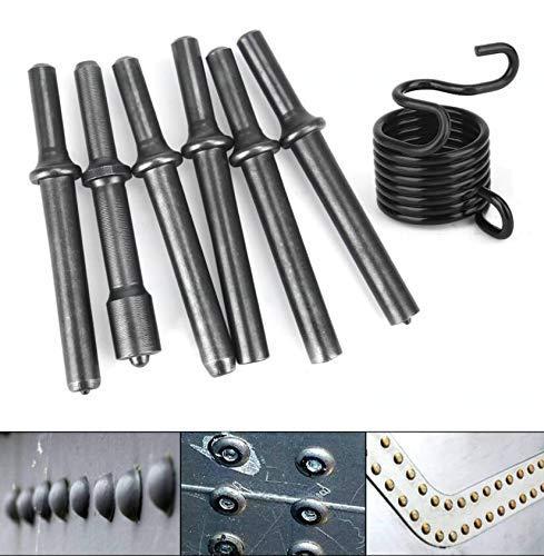 Titoe 7 Pcs Heavey Duty Smoothing Pneumatic Air Rivet Hammer Chisel Bits Tools Kit with Spring