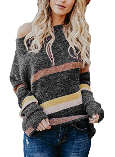 Astylish Womens Ladies Sexy Loose Fit Soft Off Shoulder Knitted Sweaters Pullover Side Slit Color Block Striped Comfy Work Knit Pullover Sweater Top Plus Size X-Large 16 18 Grey by Astylish (Image #1)