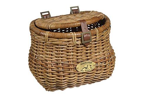 Nantucket Bicycle Basket Co. Madaket Creel Front Bicycle Basket with Lid, Natural Honey (Wicker Bicycle Baskets)