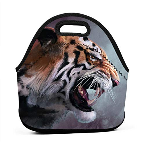Janeither Ferocious Tiger Painting Art Portable Reusable Lunch Bag Waterproof Picnic Tote Insulated Cooler Zipper Box ()