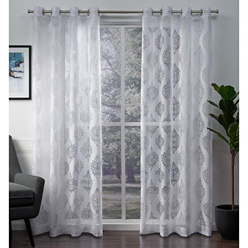 Exclusive Home Curtains Birmingham Medallion Sheer Burnout Window Curtain Panel Pair with Grommet Top, 52x84, Winter White, 2 Piece