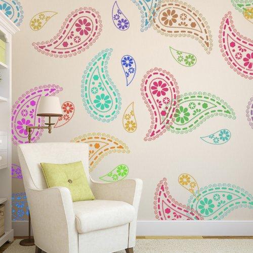 J BOUTIQUE STENCILS Paisley Stencil Pattern reusable wall stencils for DIY home decor
