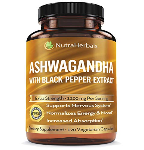 Organic Ashwagandha Root Powder 1200mg - 120 Veggie Capsules - Ashwaganda Supplement - Black Pepper Extract for Increased Absorption ()