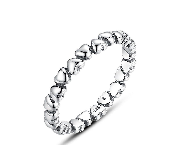 Amazon.com: Anillos Sortijas de Mujer Joyería Fina Compromiso/Matrimonio Heart Studded Finger Ring for Women RI0025: Jewelry
