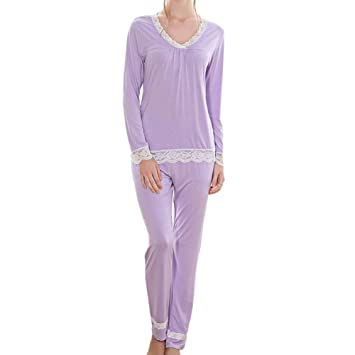 WTDlove Las señoras Pijamas otoño confort encaje linda colegiala manga larga pijama sólido color algodón talla